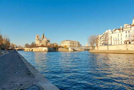 A view of the famous island of Cite sunny morning. Paris. France.