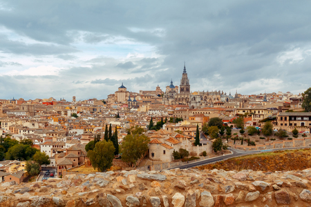 mancha: Scenic view of Toledo from the height. Spain. Castilla la Mancha. Stock Photo