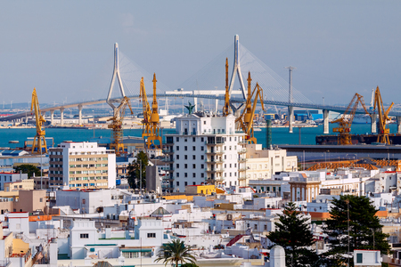 Modern cable-stayed bridge across the strait in Cadiz. Spain. Andalusia.