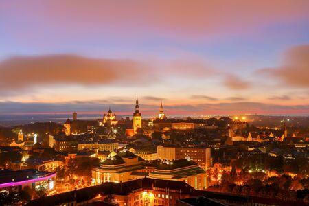 Scenic night Tallinn from a height. Estonia.