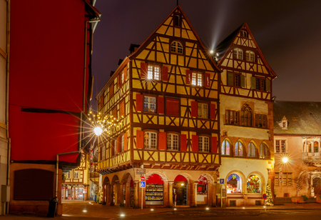 Colmar. Old medieval house in the historical part of the city at night. France. Alsace.