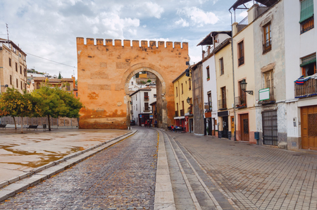 Ancient Arabic medieval gate Elvira and Monayta in Granada. Spain. Andalusia. Stock Photo