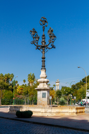 A large beautiful lantern in the square in the center of Seville. Andalusia.