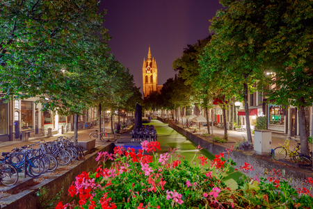 Delft. City Canal at night. Stock Photo