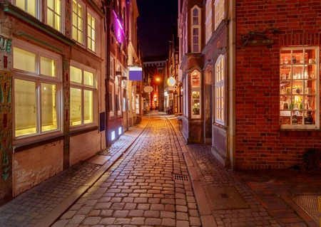 Bremen. Old street at night. Stock Photo