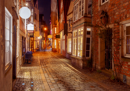 Bremen. Old street at night. Banco de Imagens