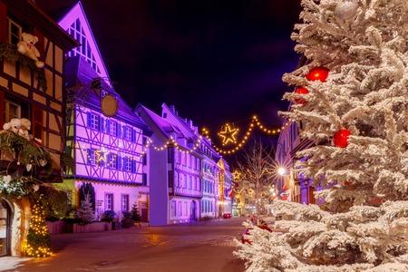 the little venice: French city Colmar on Christmas Eve.