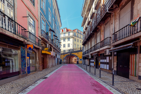 Lisbon. Pink street.