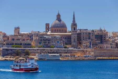st pauls: Valletta. St. Pauls Cathedral. Stock Photo