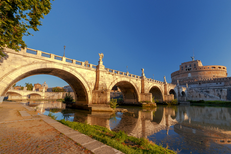 tiber: Rome. Bridge of the Holy Angel.
