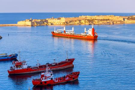 Valletta. Mediterranean harbor. Stock Photo