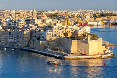 Valletta. Mediterranean harbor. Banco de Imagens
