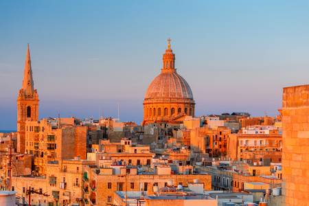 Valletta. The Basilica of Our Lady and the Tower of the Cathedral.