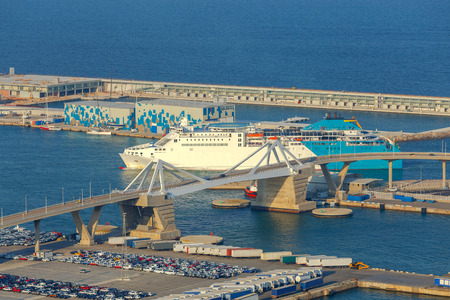 montjuic: Aerial view of the seaport from the hill of Montjuic. Barcelona. Spain. Stock Photo