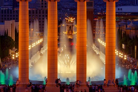 entertainment center: Magic Fountain near the National Palace of Art of Catalonia in Barcelona. Spain. Stock Photo