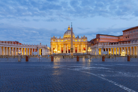 View of St. Peters Cathedral early in the morning. Rome. Italy. Vatican.