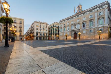 st jamess: Barcelona. St. Jamess Square at dawn.