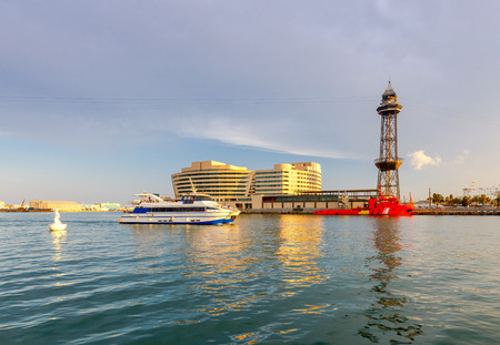 Barcelona. Seaport at sunset.