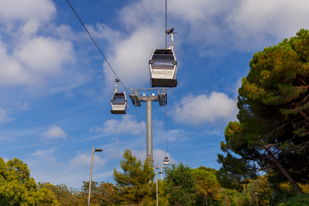 ropeway: Barcelona. Cable car. Stock Photo