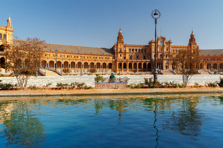 seville: Seville. Spanish Square or Plaza de Espana. Stock Photo