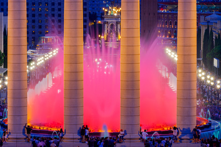 montjuic: Magic Fountain near the National Palace of Art of Catalonia in Barcelona. Spain. Stock Photo