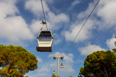 montjuic: Barcelona. Cable car. Stock Photo