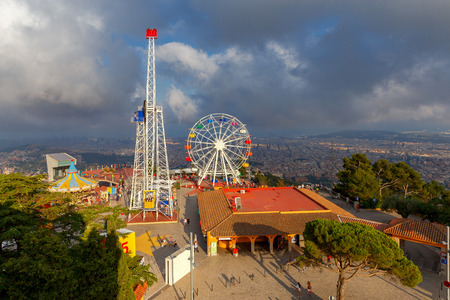 Barcelona, Spain - July 12, 2017: The famous amusement park on Mount Tibidabo. Barcelona. Spain Catalonia