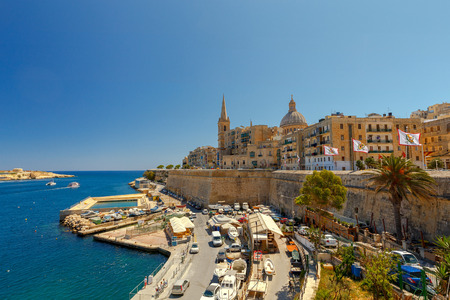 Valletta. City embankment on a sunny day. Stock Photo