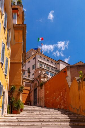 Rome. The Italian flag on the Quirinale Palace. Stock Photo