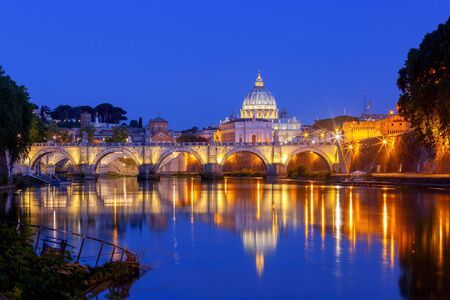 Rome. The Tiber River and Saint Peters Cathedral. Stock Photo