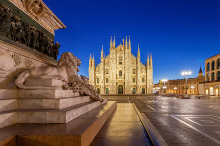 Milan Cathedral, the Duomo di Milano at dawn, one of the largest Catholic churches. Milan. Italy.