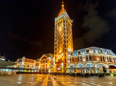 The famous clock tower on Square Piazza at night.. Batumi. Adjara. Georgia 스톡 콘텐츠