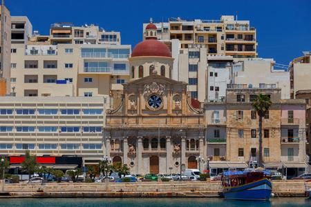 The facade Church of Jesus of Nazareth on the embankment of Valletta. Malta.