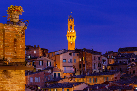 Siena. View of the old town on the sunset. Stock Photo