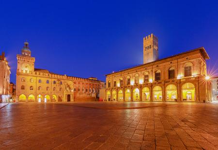 Bologna. Maggiore Square at night.
