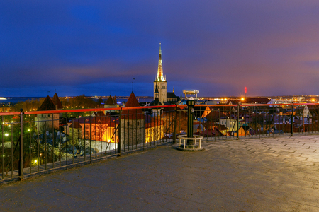 Tallinn. Aerial view of the city at sunset. Stock Photo