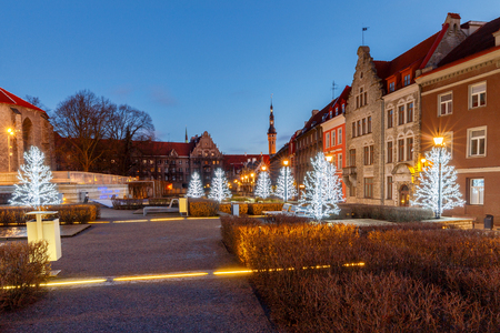 Tallinn. City street in Christmas illumination.