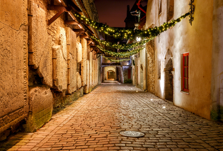 Lane of St. Catharine in the night illumination. Tallinn. Estonia