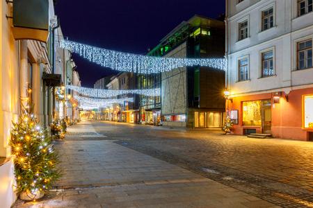 Tallinn. Viru Street at night. Stock Photo