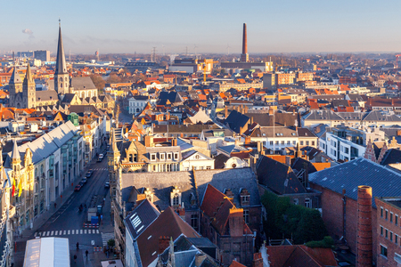Gent. Aerial view of the old city. Stock Photo