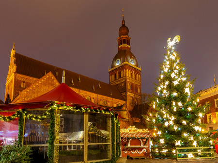 Riga. Christmas tree on Christmas.