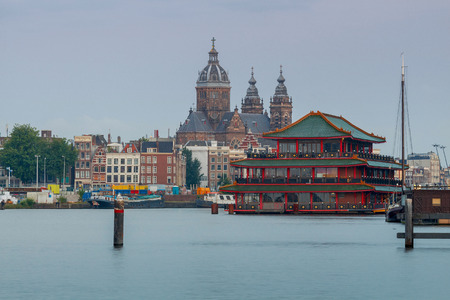 Scenic morning view of the church of St. Nicholas in Amsterdam. Netherlands.