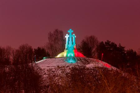 Vilnius. Three Crosses mountain at night.