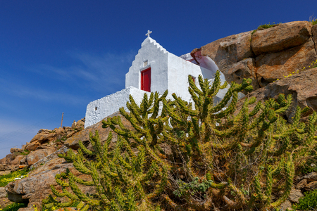 Mykonos. Traditional building of the Greek Church. Stock Photo