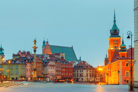 View of the royal square and the column of Sigismund. Poland. Warsaw.
