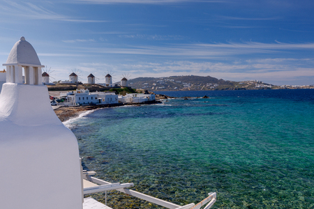 Mykonos. An old traditional windmill. Banco de Imagens