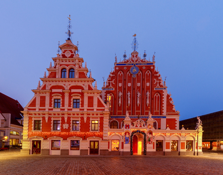 Town Hall Square and the House of the Blackheads in Rigas historic center. Stock Photo