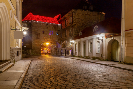 Old stone medieval street in the historic part of the city. Tallinn. Estonia.