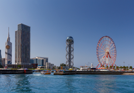 View of the city embankment from the sea on a sunny day. Georgia. Batumi.