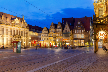 Old medieval market square in the historic part of the city. Bremen. Town Hall. Germany. Bavaria.